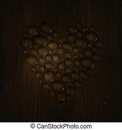 Heart shaped water drops on a wooden texture.