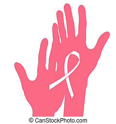 Hands holding breast cancer ribbon, vector illustration.