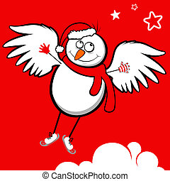 Snowman - Flying snowman Vector illustration