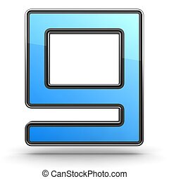 Letter G Blue Icon in Modern Design in Metal Border
