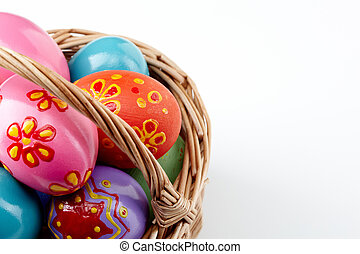 Easter artwork - Image of colored Easter eggs in basket