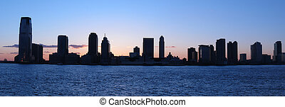 Jersey City panorama - buildings silhouettes of Jersey City....