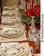 Christmas Place Settings on Holiday Table - A Christmas...