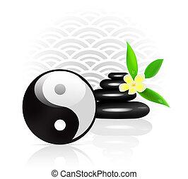 feng, Símbolo,  yin,  yang, fundo,  shui