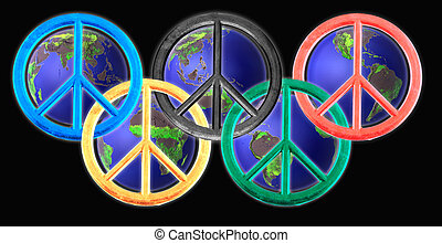 peace signs - Colored peace signs with globes on black...