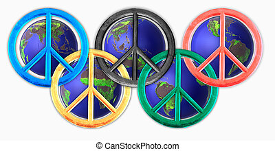 peace signs - Colored peace signs with globes