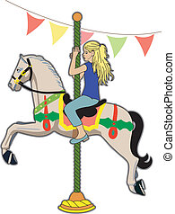 Wooden horse - Girl at the carnival