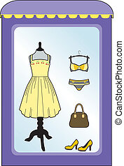 Yellow dress in the shop - showcase of women's clothing...
