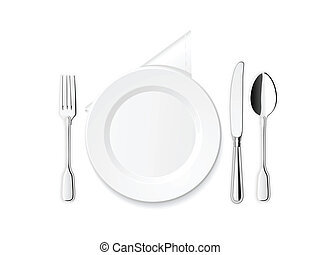 Plate, knife, spoon and fork - Dinner plate, knife, spoon...