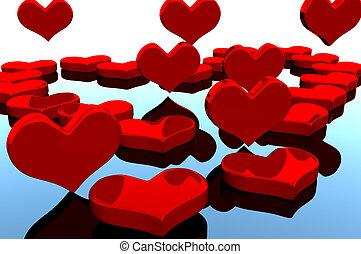 valentine heart - valentine red heart on the mirror...