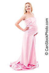 pregnant woman - beautiful young pregnant woman wrapped into...