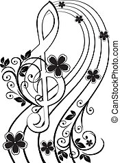 Musical background with a treble clef and a flower pattern