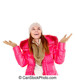 Young woman wearing winter jacket scarf and cap - Adorable...