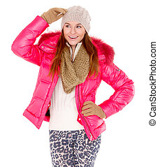 Young woman wearing winter jacket scarf and cap - Cute young...
