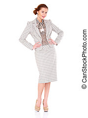 Fullbody business woman smiling isolated