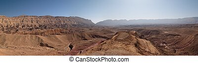 Scenic desert landscape in the Small Crater (Makhtesh Katan)...