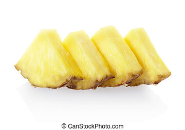 Pineapple chunks - Pineapple slices isolated on white,...