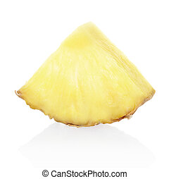 Pineapple chunk - Pineapple slice isolated on white,...