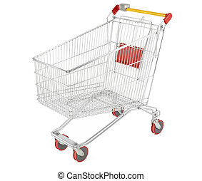 Shopping cart on white - Shopping cart isolated on white,...