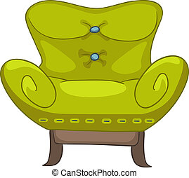 Cartoon Home Furniture Chair Isolated on White Background...