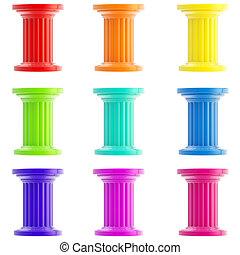 Conjunto, nueve, estilizado, Columnas, Pilares, aislado