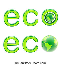 Ecology eco emblem sign with a planet isolated