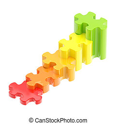 Colorful puzzle pieces as a staircase to success - Growth...