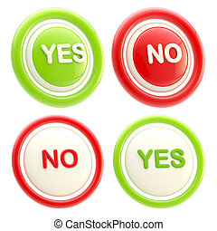 Yes and no glossy plastic buttons isolated