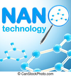 Nano technology blue glossy background made of magnifier and...