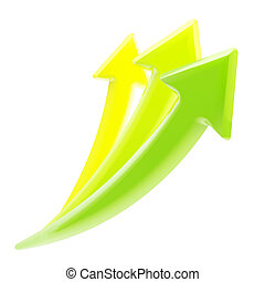 Up and growth: three growing arrows isolated - Up and...