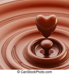 Chocolate heart as a liquid drop background - Abstract...
