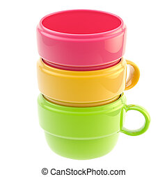 Three coffee cups one inside another - Three colorful glossy...