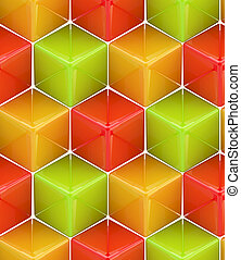 Seamless abstract colorful background made of cubes and...