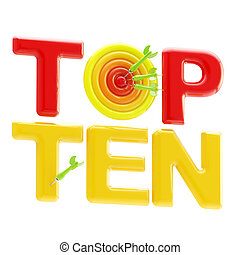 Top ten sign with an quot;oquot; as a dart target - Top ten...