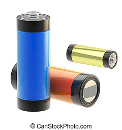 Set of three glossy batteries isolated