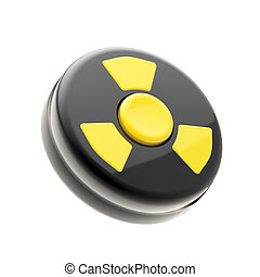 Black control panel with one yellow nuclear button - Black...