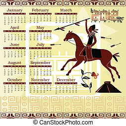 Calendar 2012 in mayan style - Vector of Calendar 2012 in...