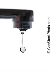 Faucet and drop. - Water drop and faucet.