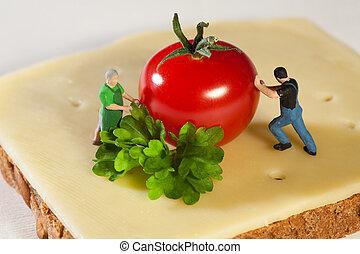 Preparing A Fresh Cheese Sandwich