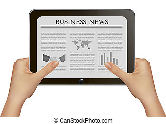 Hands holding digital tablet pc with business news. Vector...