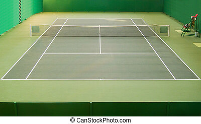 Tennis court - Empty green indoor tennis court