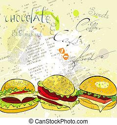 Hamburgers on stylized background