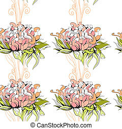Floral seamless pattern with paeony flowers