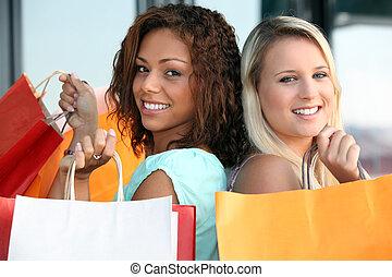 deux, filles, achats