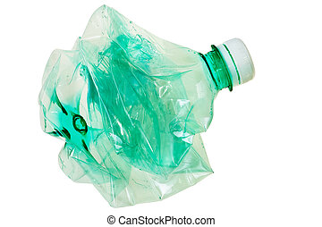 Squeezed green PET bottle ready for recycling isolated over...