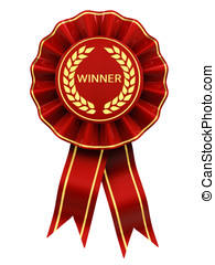 Winner , red and gold rosette