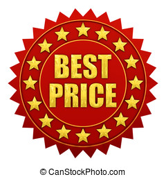 Best price warranty, red and gold label