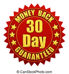30 day money back guaranteed , red and gold warranty label...