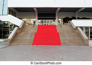 Red carpet Cannes - Famous red carpet stairway at festival...