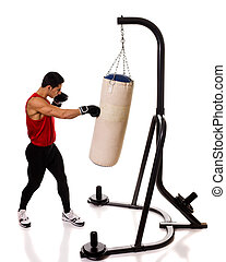 Heavy Bag Workout - Boxing heavy bag workout. Studio shot...